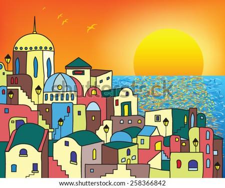 Magic town at sunrise - stock vector