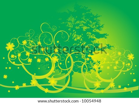 Magic tree shape wraped around with golden clover