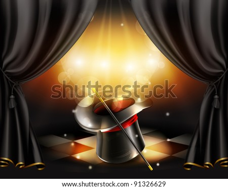 Magic tricks, vector background - stock vector