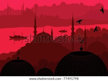 Magic Turkey city Istanbul landscape illustration - stock vector
