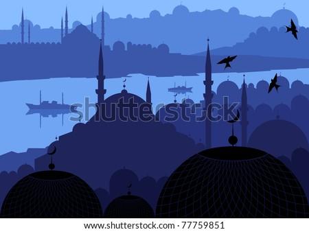Magic Turkish city Istanbul landscape illustration - stock vector