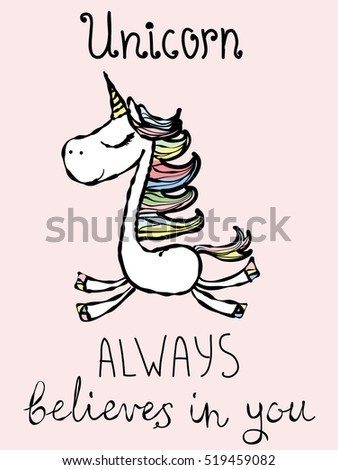 Magic unicorn card. Vintage vector typography poster with hand drawn text and unicorn