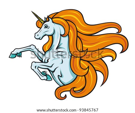 Magic unicorn horse in cartoon style for fantasy design, such a logo. Jpeg version also available in gallery - stock vector