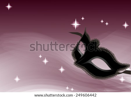 Magic violet background with venetian mask - stock vector