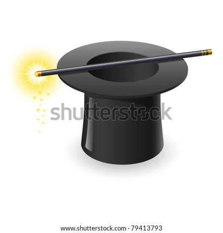 Magic wand and hat. Illustration on white background - stock vector