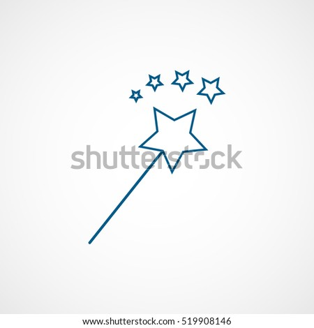 Magic Wand Christmas New Year Blue Line Icon On White Background
