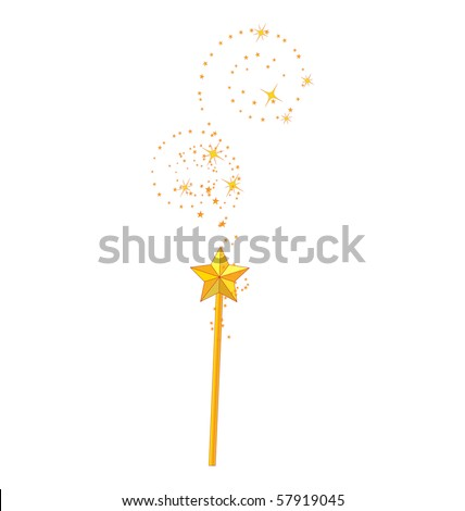 magic wand isolated on white background - stock vector