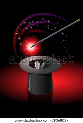 Magic wand performing tricks on a top hat with stars - stock vector