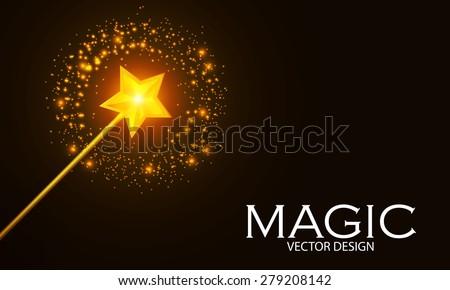 Magic wand with shining star. Vector illustration - stock vector