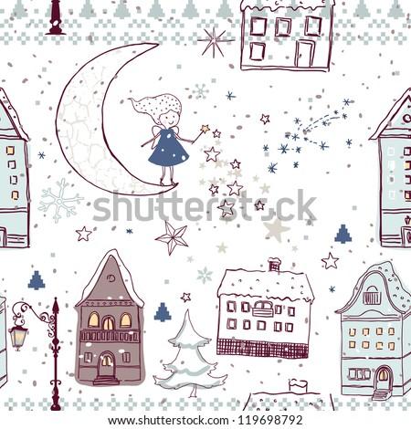 magic winter night seamless pattern - stock vector