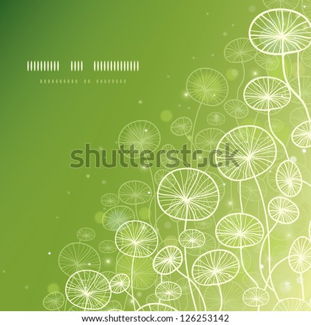 Magical doodle plants square template background - stock vector