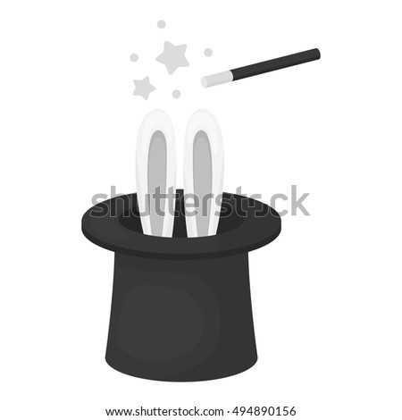Magical hat icon in monochrome style isolated on white background. Circus symbol stock vector illustration.