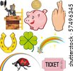Magical objects and objects of good Luck. Icon set - stock vector