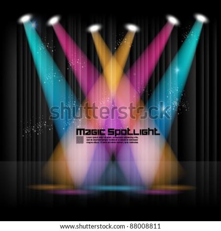 magical spotlight effect vector background design - stock vector