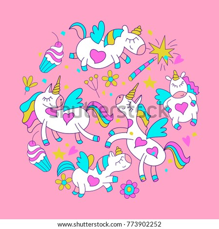 Magical unicorns. Cute design for baby shower. Little unicorns. For registration of a children's party, baby shower parties, postcards, banners, textiles.