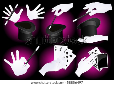 Magician hands, vector illustration - stock vector