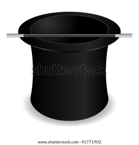 Magician hat and wand isolated over white background