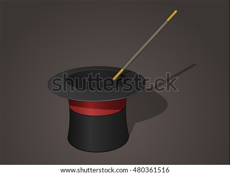 Magician hat with magic wand