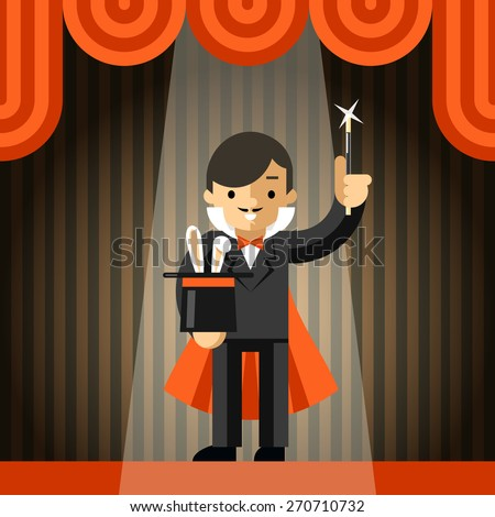 Magician holding top hat with rabbit. Show and trick, magic and wand, animal and illusion, vector illustration - stock vector