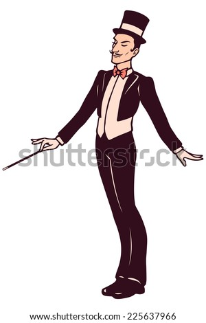 Magician in suit holding a wand - stock vector