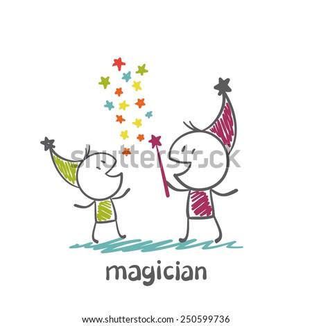 magician learns magic illustration - stock vector