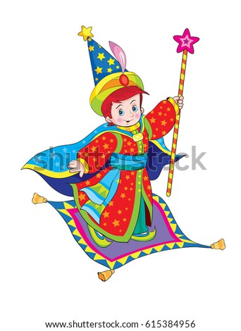 Magician on a flying carpet. Cartoon