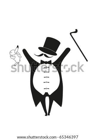 magician with rabbit and walking stick - stock vector