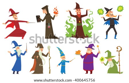 Magicians and wizards imagination, wich human performance magicians and mystery wizards show. Group of magicians and wizards illusion show old man imagination, performance character vector. - stock vector