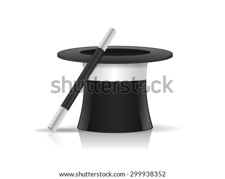 Magicians hat with magic wand stick vector illustration isolated on white