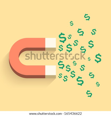 Magnet with money business illustration - stock vector