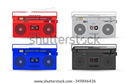 Magnetic cassette player. Vector - stock vector
