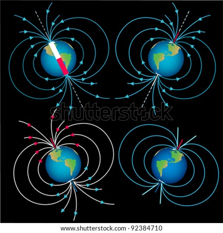 Magnetic field vector images collection - stock vector