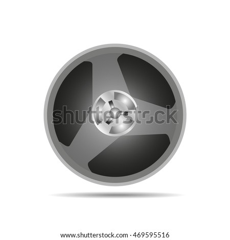 Magnetic tape reel on white background