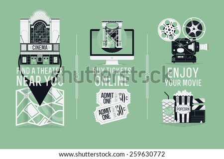Magnificent detailed vector visuals, web banner and printables design element on buying cinema tickets online, movie theater location and motion picture enjoyment - stock vector
