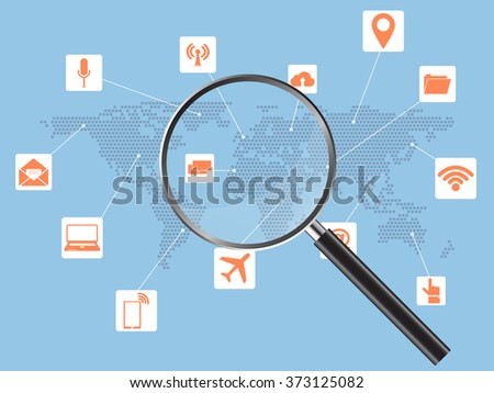 Magnifier Concept with World Map Globe for Communication, Vector Illustration EPS 10. - stock vector