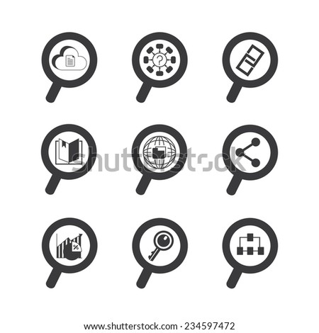 magnifier glass icons set, data analytics concept - stock vector