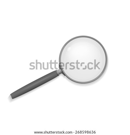 Magnifier glass on white background