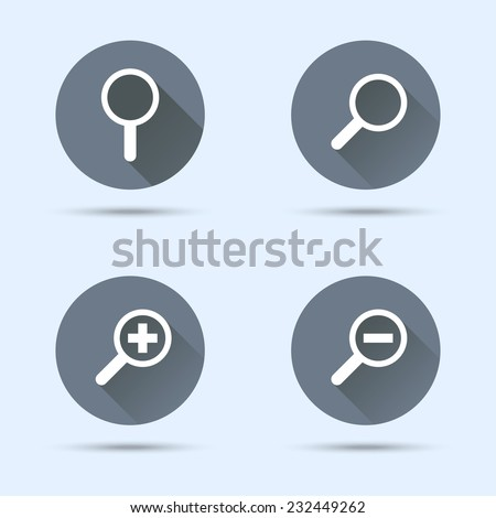 Magnifier icons. Search and zoom icons. Vector illustration - stock vector
