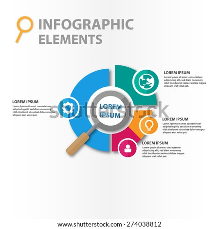 Magnifier infographics elements illustration, template for business  - stock vector