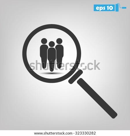 Magnifier People Icon. Magnifier People Icon Vector. Magnifier People Icon JPEG.  Magnifier People Icon Graphic. Magnifier People Icon Art. Magnifier People Icon EPS. Magnifier People Icon AI - stock vector