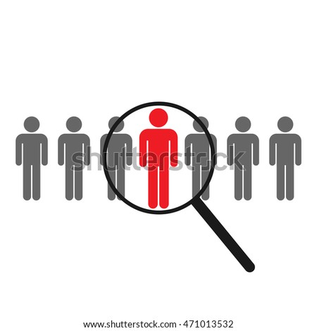 Magnifier, search for information. Icon. Human figure stick.
