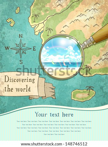magnifier showing beautiful nature on the old map, vector illustration, eps10 - stock vector