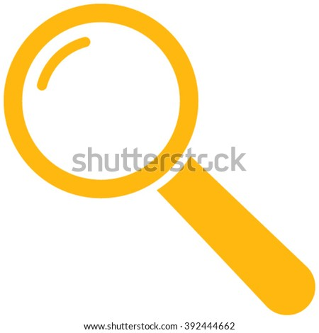 Magnifier vector icon. Style is flat icon symbol, yellow color, white background.