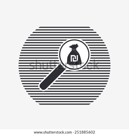 Magnifier with money bag icon. Israeli Shekel currency symbol. Flat design style. Made in vector illustration - stock vector
