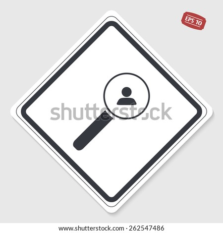 Magnifier with person icon. Sign man. Flat design style. Made vector illustration. Emblem or label with shadow. - stock vector
