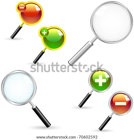 Magnifiers with plus and minus signs. Great collection. - stock vector