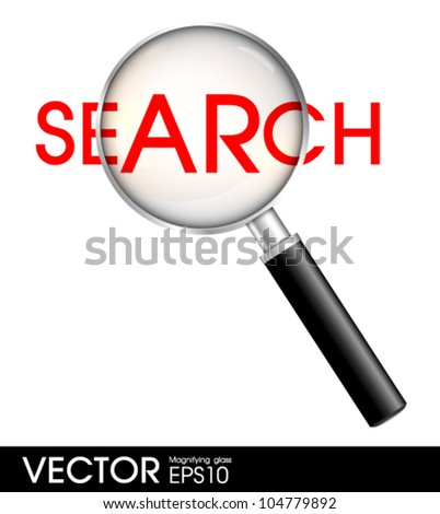 magnify glass on a search word