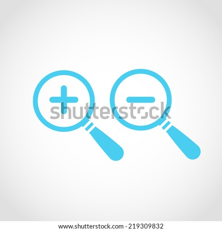Magnify icon , zoom In and zoom out , Isolated on White Background - stock vector