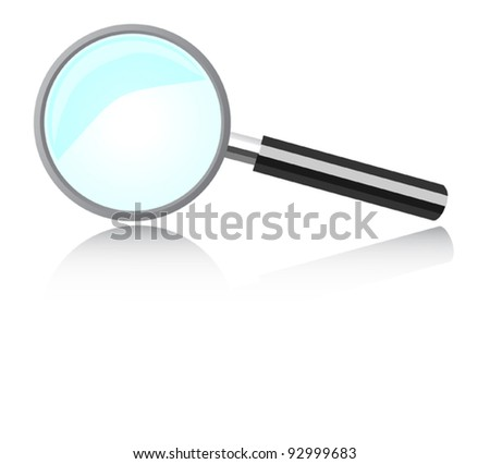 Magnifying device to see the large increase. Clearly, more - stock vector
