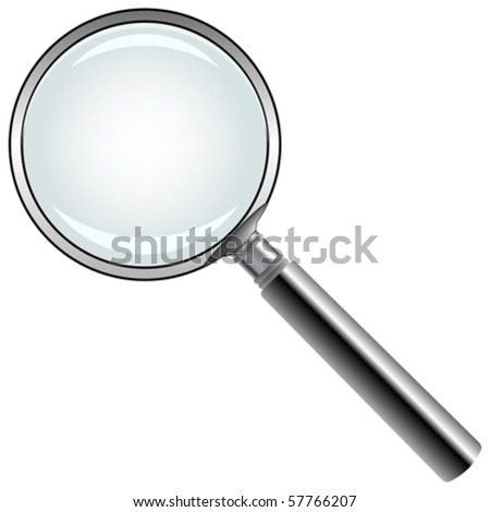 magnifying glass against white background, abstract vector art illustration - stock vector